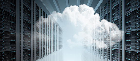 cloud imposed over a server room